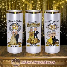 Lembrancinha Bodas de ouro (Borda metalizada)